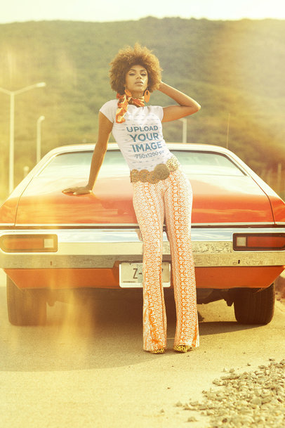 T-Shirt Mockup of a Woman Posing With a Car in the '70s m10508