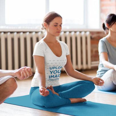 V-Neck Tee Mockup of a Woman Meditating in a Yoga Class 42941-r-el2