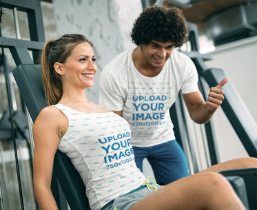 T-Shirt and Tank Top Mockup of a Coach Training a Woman at a Gym 41210-r-el2