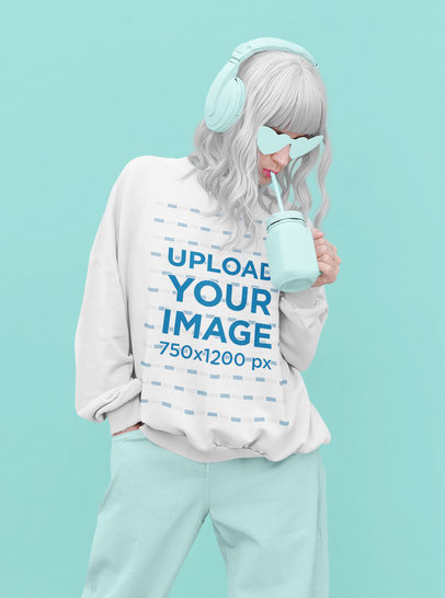 Sweatshirt Mockup of a Woman Wearing a Cool Outfit M5613-r-el2