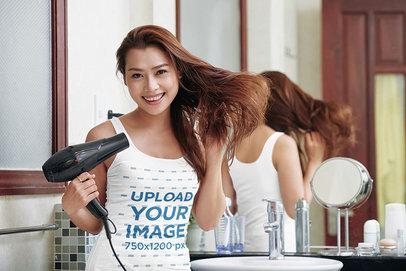 Tank Top Mockup of a Happy Woman Using a Hair Dryer 42758-r-el2