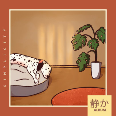 Lofi Hip Hop Album Cover Maker With a Chill Dog Illustration 4453b