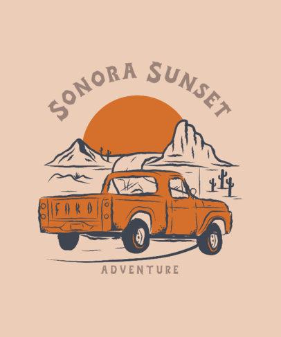 Illustrated T-Shirt Design Maker Featuring a Desert Landscape and a Truck 3805a
