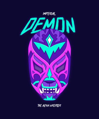 T-Shirt Design Creator Featuring a Demon Masked Wrestler 4452C