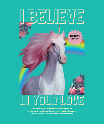 Quote T-Shirt Design Template Featuring a Fabulous Unicorn Illustration 4447a