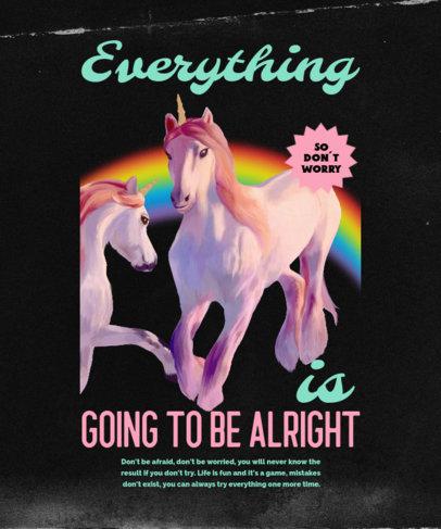 Retro T-Shirt Design Maker With a Positive Message and Unicorns 4447c