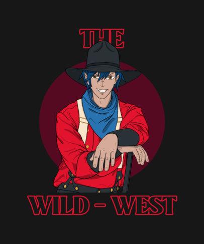 T-Shirt Design Creator Featuring a Wild West Cowboy 3819c