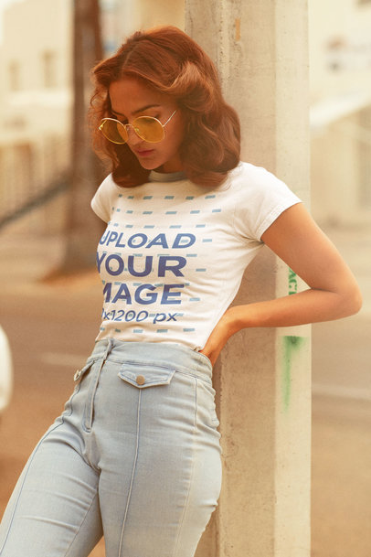 Retro-Styled Mockup Featuring a Woman Wearing a Customizable T-Shirt m10131