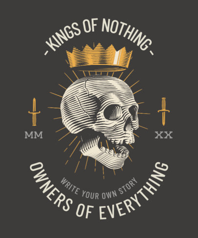 T-Shirt Design Generator Featuring an Illustration of a Skull With a Crown 3817b