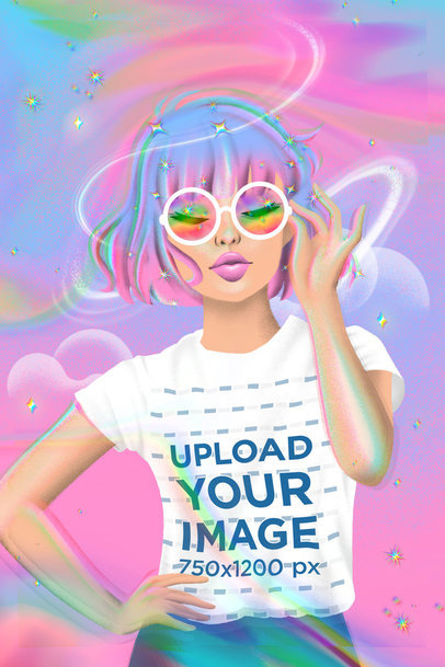 Illustrated Mockup Featuring a Woman With a T-Shirt and a Rainbow Flare 3804
