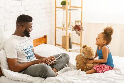 T-Shirt Mockup of a Man Talking With His Daughter 46405-r-el2