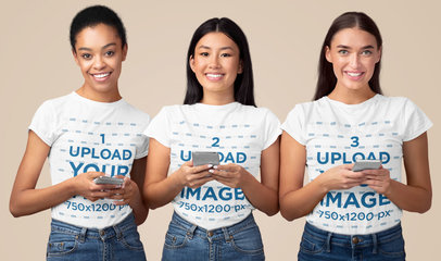 T-Shirt Mockup of Three Young Women with Their Phones in Their Hands 46098-r-el2