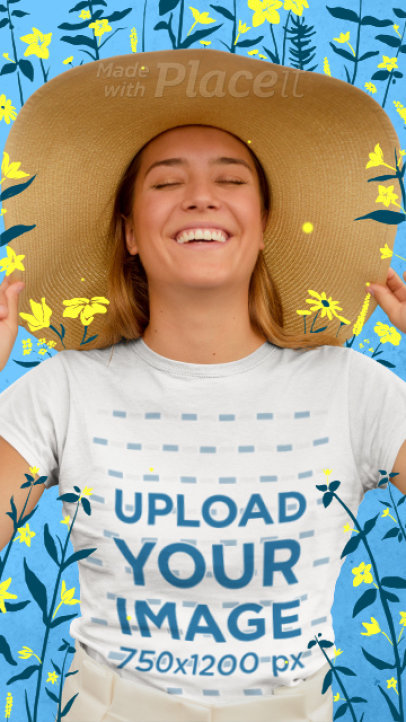T-Shirt Video Featuring a Happy Woman with Animated Flower Illustrations 3299v