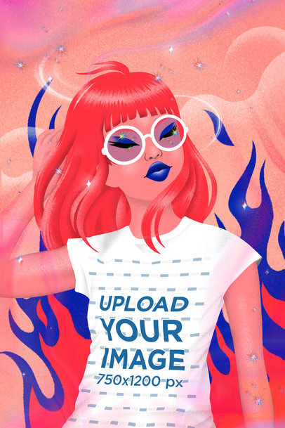 Illustrated T-Shirt Mockup Featuring a Woman and Flame Graphics 3804