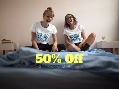 Pair of Girlfriends Laughing While Wearing T-Shirts Mockup in Bed a16410