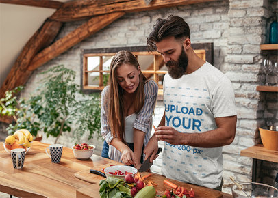 Heather Tee Mockup of a Bearded Man Cutting Vegetables with His Girlfriend M10246-r-el2