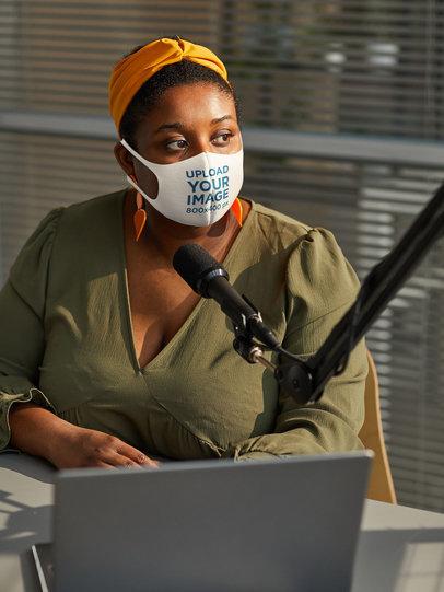 Face Mask Mockup of a Woman in a Recording Studio 45490-r-el2