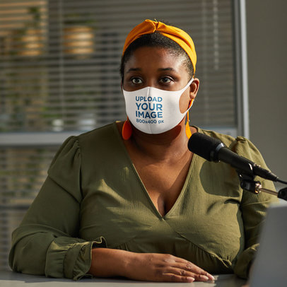 Face Mask Mockup of a Woman Making a Podcast 45545-r-el2
