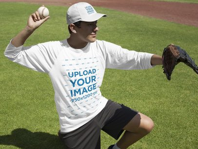 Baseball Uniform Designer - Teen Boy Playing as Catcher Outdoors a16363