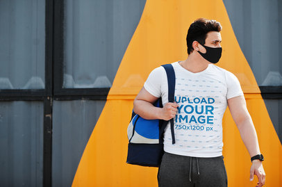 V-Neck Tee Mockup Featuring a Man Heading to the Gym M5062-r-el2