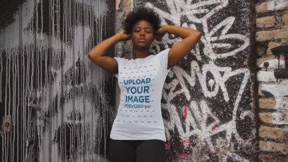 T-Shirt Video of a Woman Posing Against a Graffiti Wall 3406v