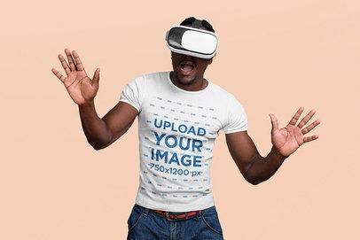 T-Shirt Mockup of a Man Having Fun with a VR Headset m10091-r-el2