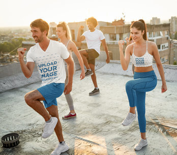 Sports Bra and V-Neck T-Shirt Mockup of a Group of Friends Exercising 41050-r-el2