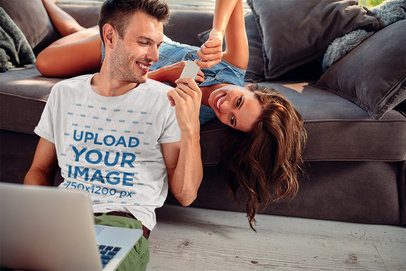 T-Shirt Mockup of a Joyful Man Playing with His Girlfriend at Home M10176-r-el2