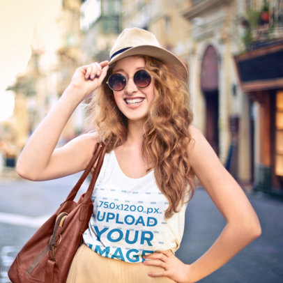 Tank Top Mockup Featuring a Happy Young Female Tourist 42057-r-el2