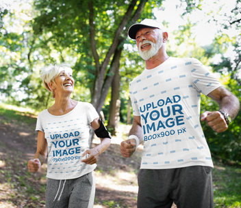 T-Shirt Mockup of a Senior Couple Jogging in the Forest 41452-r-el2