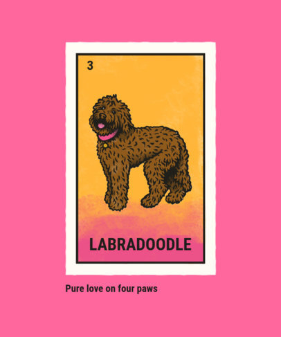 T-Shirt Design Template Featuring a Labradoodle Illustration 4466a