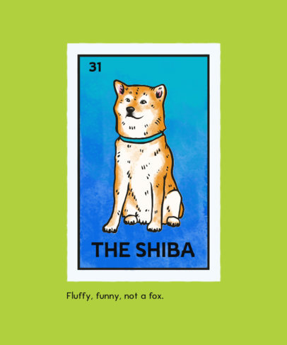 T-Shirt Design Template With a Cute Shiba Inu Graphic 4466d