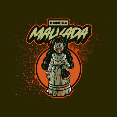 Logo Template Featuring a Demonic Doll Graphic Inspired by Resident Evil 4460g