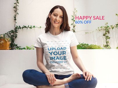 Woman Relaxing Wearing a Round Neck Tee Mockup a15919