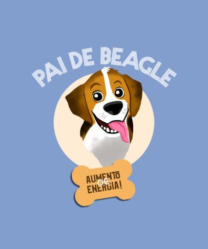 Illustrated T-Shirt Design Template Featuring a Happy Beagle 4468j
