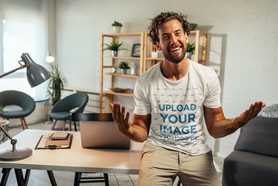 Round-Neck Tee Mockup of a Smiling Man in His Home Office M10253-r-el2