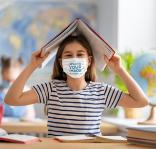 Face Mask Mockup Featuring a Happy Girl Smiling at a Classroom m11056-r-el2