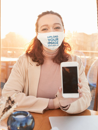 Face Mask Mockup of a Curly-Haired Woman Showing Her Phone 46735-r-el2