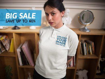 Facebook Ad - Hispanic Girl Wearing a Polo Shirt Indoors a15410