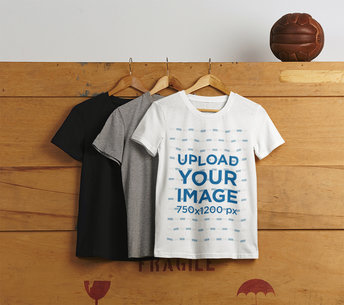 Mockup of Some T-Shirts Hanging on a Wooden Box M7716-r-el2