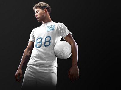 Custom Soccer Jerseys - Man Holding a Ball Under his Arm a16497