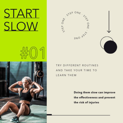 Instagram Post Design Template for a Fitness Tip for Beginners 4149-el1