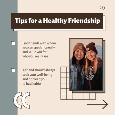 Instagram Post Design Template for a Carousel With Tips for Healthy Friendships 4157-el1