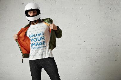 T-Shirt Mockup of a Biker Wearing a Helmet M6285-r-el2