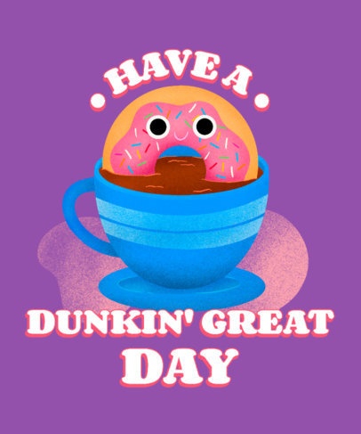 T-Shirt Design Generator for a Cartoonish Donut for Junk Food Day 3848c