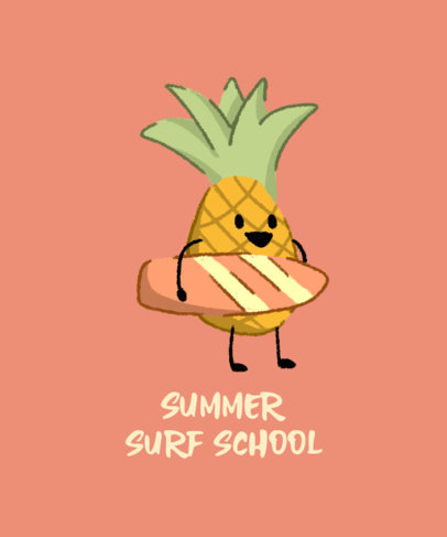 T-Shirt Design Template for a Surf School Featuring a Cute Pineapple Clipart 3845i