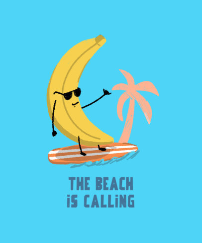 T-Shirt Design Creator With a Summer Vacation Theme Featuring a Banana Surfing 3845k