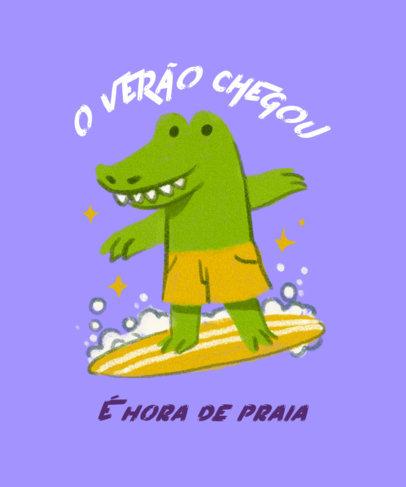 Kids' T-Shirt Design Maker Featuring a Crocodile Surfing 3845h
