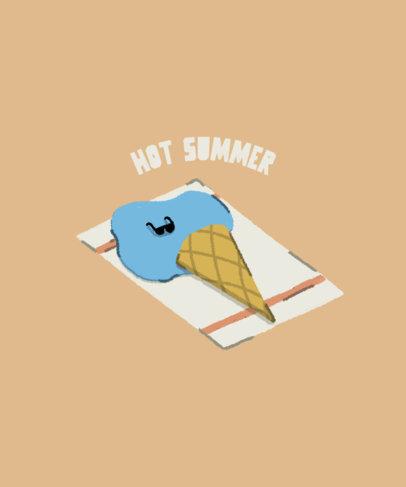 Summer T-Shirt Design Creator Featuring a Melted Ice Cream Cartoon 3845c