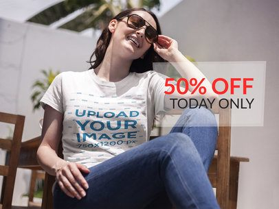 Facebook Ad - Middle Aged Woman Wearing a T-Shirt While in the Backyard a15914